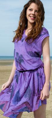 Tunique plage brodée Cocotiers violet